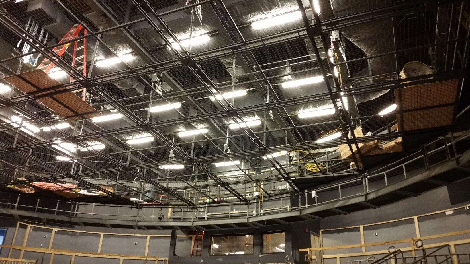 View of Northern Stage's SkyDeck during construction at the Byrne Theatre.