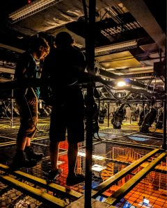 Technicians standing on the SkyDeck™ at Northern Stage's Byrne Theatre.