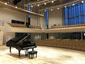 Curved SkyDeck™ grid panels at Penn State's new recital hall.