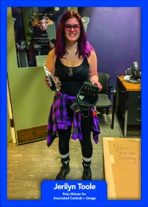 Winner Jerilyn Toole of SUNY New Paltz won a new leatherman and a carpenter's pouch from Associated Controls + Design.