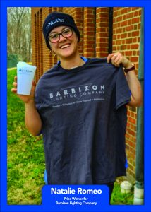 Winner Natalie Romeo of Berea College won a gift bag from Barbizon Lighting Company.