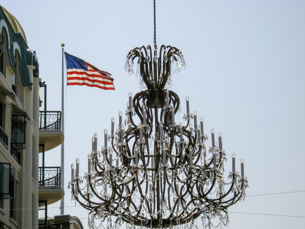 Chandelier is suspended using a hoist manufactured by IA Stage