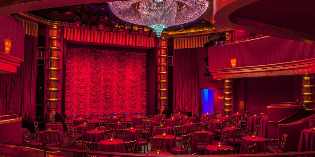 The main drape at the Faena Theater, a gem of a performance space housed inside the Faena Hotel Miami Beach.