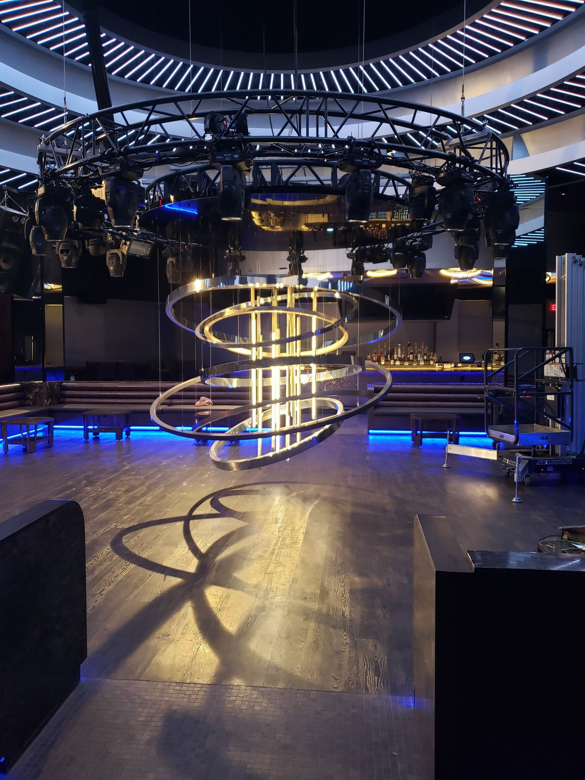 Seminole Hard Rock Hotel & Casino's rigging solution in the form of a self-climbing circular chandelier hoist that's set inside a ring-shaped lighting truss.