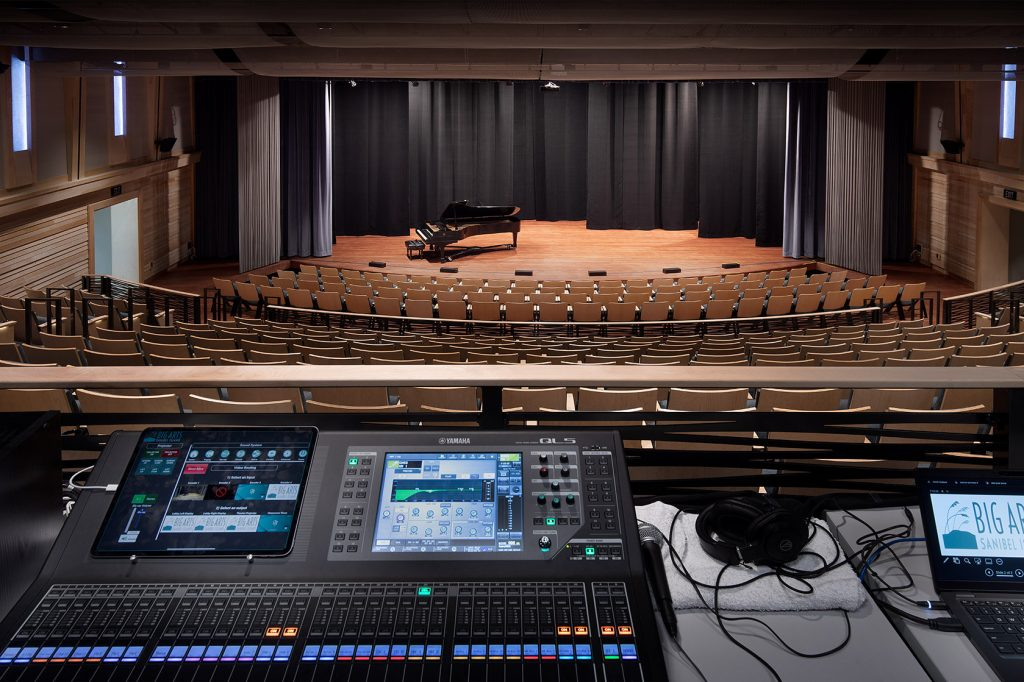 View of BIGARTS PAC from sound booth. - photo by Stevens Construction.