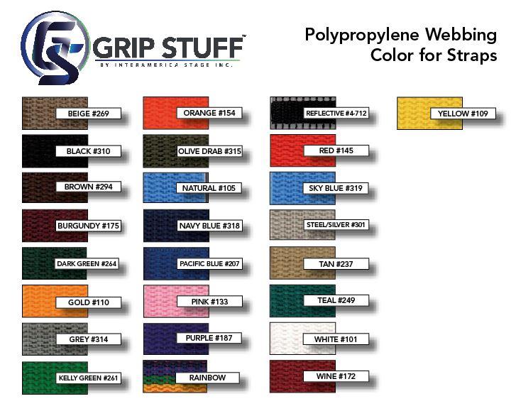 Polypropylene Webbing Color Card for Grip Stuff by IA Stage sandbag straps.