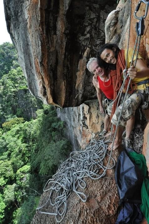 "Robert ""Fuzzy"" Frazer rock climbing in Railay Bay, Thailand."